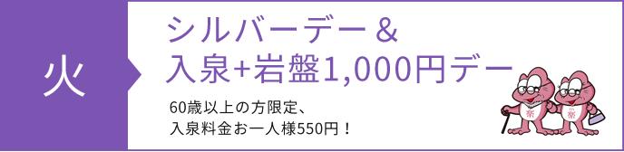 シルバーデ―、入泉岩盤1000円